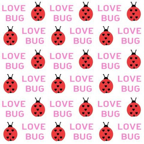 cute love bug ladybug valentines day fabric // cute valentines fabric, valentines day design, lovebug, ladybug, ladybird, - pink and red