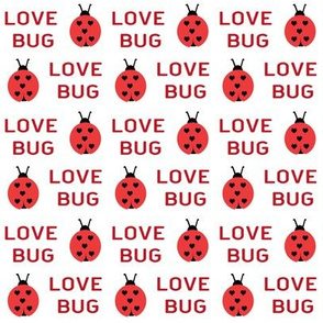 cute love bug ladybug valentines day fabric // cute valentines fabric, valentines day design, lovebug, ladybug, ladybird, - red