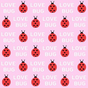 cute love bug ladybug valentines day fabric // cute valentines fabric, valentines day design, lovebug, ladybug, ladybird, - pastel pink
