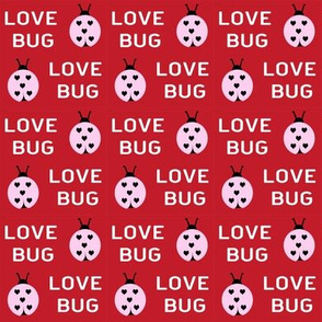 cute love bug ladybug valentines day fabric // cute valentines fabric, valentines day design, lovebug, ladybug, ladybird, - cherry red