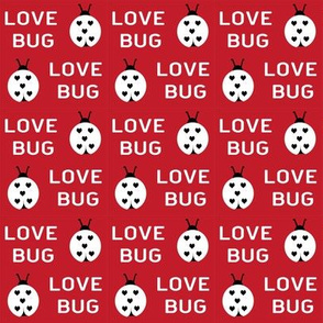 cute love bug ladybug valentines day fabric // cute valentines fabric, valentines day design, lovebug, ladybug, ladybird, - cherry red and white