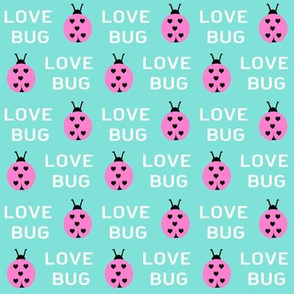 cute love bug ladybug valentines day fabric // cute valentines fabric, valentines day design, lovebug, ladybug, ladybird, - candy mint
