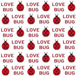 cute love bug ladybug valentines day fabric // cute valentines fabric, valentines day design, lovebug, ladybug, ladybird, - cherry red on white