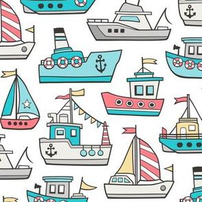 Boats Ships Nautical Maritime Doodle Red Aqua Blue on White