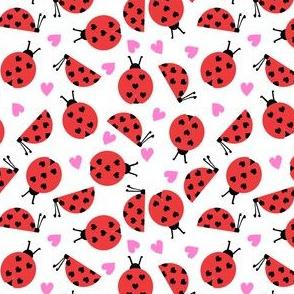 girly valentines day ladybug fabric // ladybug fabric, ladybird fabric, cute ladybird, girly ladybugs, girls fabric, cute design for valentines - white