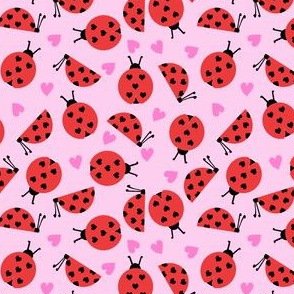 girly valentines day ladybug fabric // ladybug fabric, ladybird fabric, cute ladybird, girly ladybugs, girls fabric, cute design for valentines - bubblegum pink