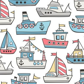 Boats Ships Nautical Maritime Doodle on Light Blue