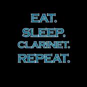 Eat Sleep Clarinet Repeat Mermaid Ocean Blue Glitter Color Text