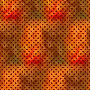 COORDINATE CHINESE ZODIAC DOTTY FLAME ORANGE BROWN FLWRHT METALLIC EFFECT