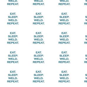Eat Sleep Weld Repeat Mermaid Ocean Blue Glitter Color Text