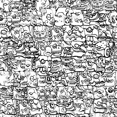 Mayan Hieroglyph BW