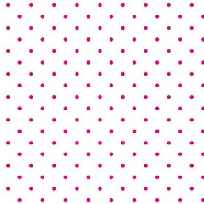 Polka dot - hot pink on white