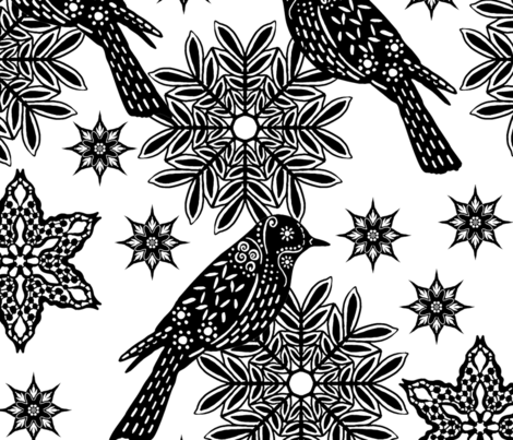 black and white wallpaper fabric by linsart on Spoonflower - custom fabric