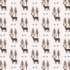 Winter Rustic Tree and Reindeer Lino Cut Texture