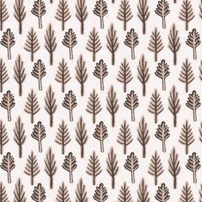 Winter Rustic Fir Tree Lino Cut Texture Sketchy