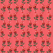 Red Tulips on Salmon Pink