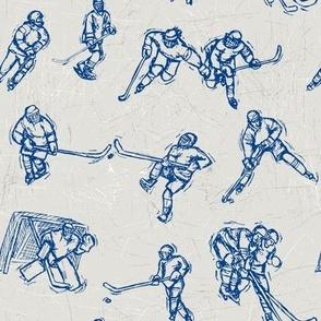 Hockey Sketch Blue on white