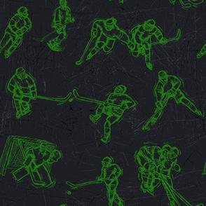 Hockey Sketch green on black