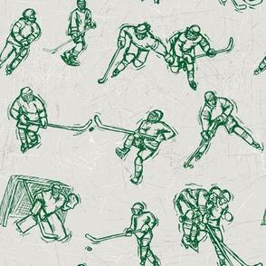 Hockey Sketch green on white