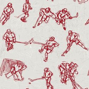 Hockey Sketch red on white