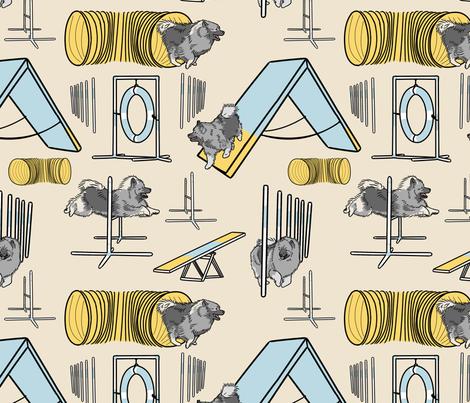 Simple Keeshond agility dogs - tan fabric by rusticcorgi on Spoonflower - custom fabric