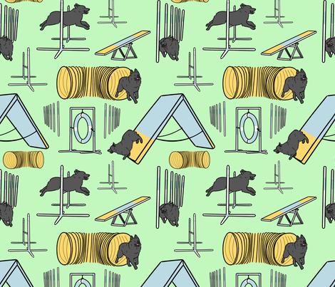 Simple Schipperke agility dogs - green fabric by rusticcorgi on Spoonflower - custom fabric