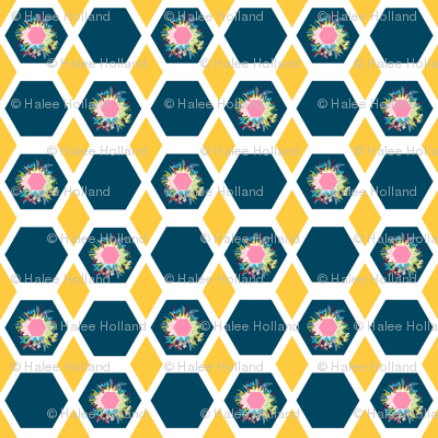 Hexagon Diamond Floral