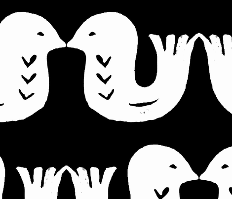 Love birds white on black large fabric by kimmygowland on Spoonflower - custom fabric
