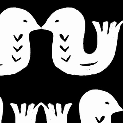 Love birds white on black large