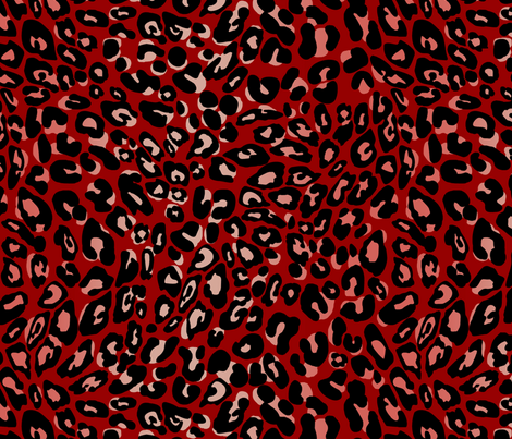 leopard_red-pink-black fabric by cinneworthington on Spoonflower - custom fabric