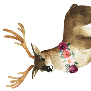 Autumn Watercolor Deer Floral Necklace