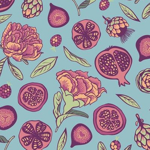 Pomegranates, artichokes, figs and berries