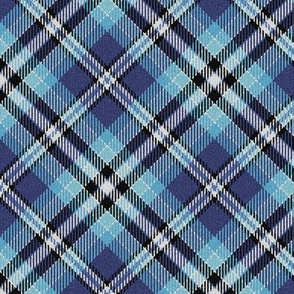 Fuzzy Look Royal Blue Sky Blue Plaid 45 degree