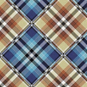 Fuzzy Look Blue and Beige Checkerboard Plaid