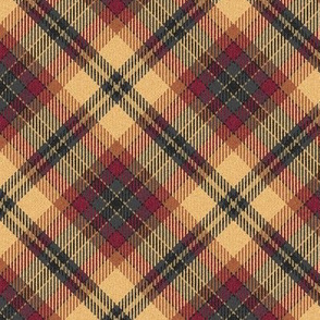 Fuzzy Look Beige Burgundy and Charcoal Plaid 45 degree