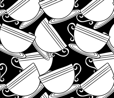 Tea Time - Black & White fabric by cozyreverie on Spoonflower - custom fabric