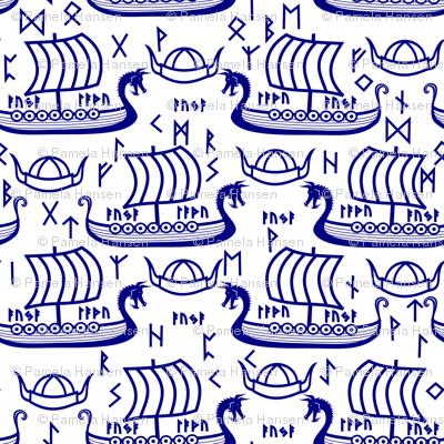 Viking longboats and runes blue