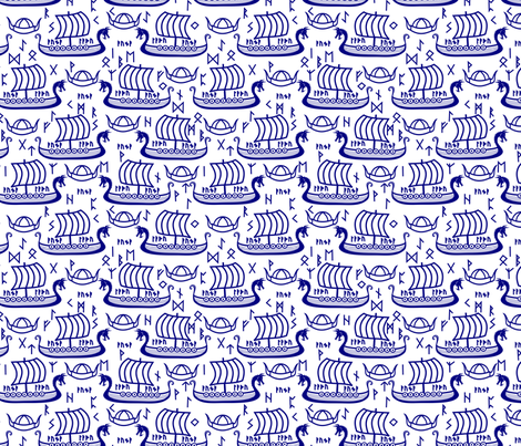 Viking longboats and runes blue fabric by pamelachi on Spoonflower - custom fabric