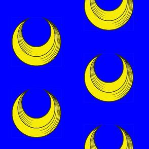 Gold Cresent on Blue