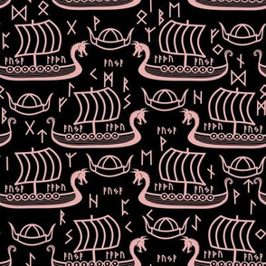 Viking longboats and runes black and pink