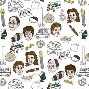 seinfeld fabric - seinfeld illustration, nyc, comedy, tv show, fan art, jerry, george, elaine, kramer - white
