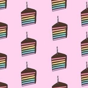 rainbow cake fabric - birthday cake fabric, birthday fabric, cute design, chocolate cake - pink