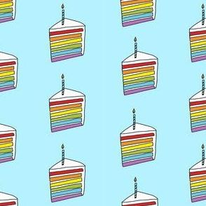 rainbow cake fabric - birthday cake fabric, birthday fabric, cute design, vanilla frosting - rainbow