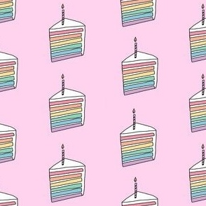 rainbow cake fabric - birthday cake fabric, birthday fabric, cute design, vanilla frosting - pink