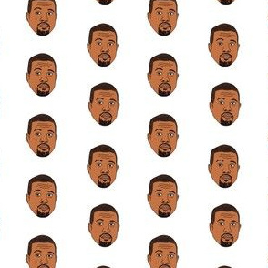 kanye west fabric, kanye, musician, music, rap, celebrity, faces, people, face fabric - white