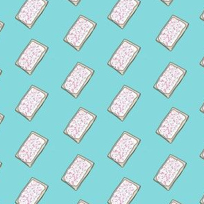pop tart - strawberry sprinkles, food fabric, junk food fabric, sprinkles fabric, strawberry frosted -  blue