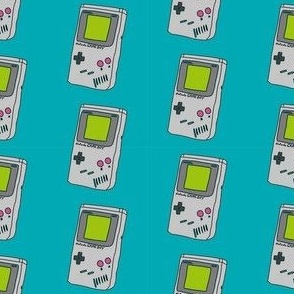 gameboy fabric - 90s throwback fabric, retro gaming system,  90s kids fabric, - blue