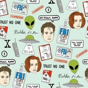 x files fan fabric - fan fabric, xfiles, x-files fabric, tv show fabric, mulder fabric, scully fabric, alien fabric - mint