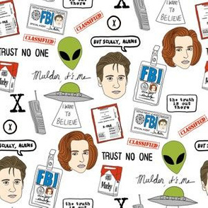 x files fan fabric - fan fabric, xfiles, x-files fabric, tv show fabric, mulder fabric, scully fabric, alien fabric -white