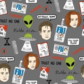 x files fan fabric - fan fabric, xfiles, x-files fabric, tv show fabric, mulder fabric, scully fabric, alien fabric - dark grey